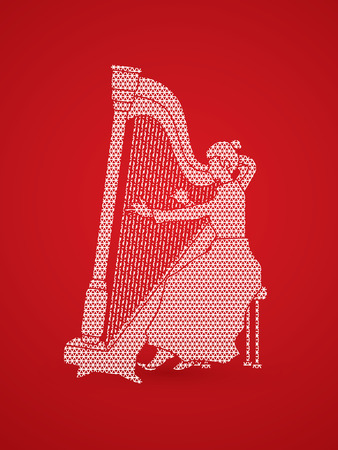 melodic: Harp player designed using geometric pattern graphic vector.