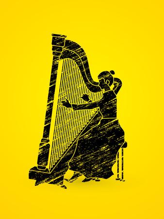 Harp player designed using grunge brush graphic vector. Illustration