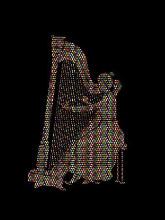 Harp player designed using colorful mosaic pattern graphic vector.