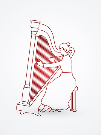 lyra: Harp player designed outline graphic vector. Illustration