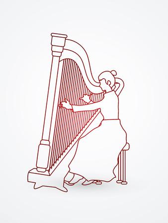 Harp player designed outline graphic vector. Illustration