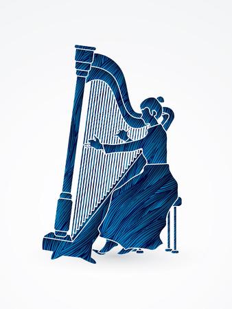 Harp player designed using blue grunge brush graphic vector.