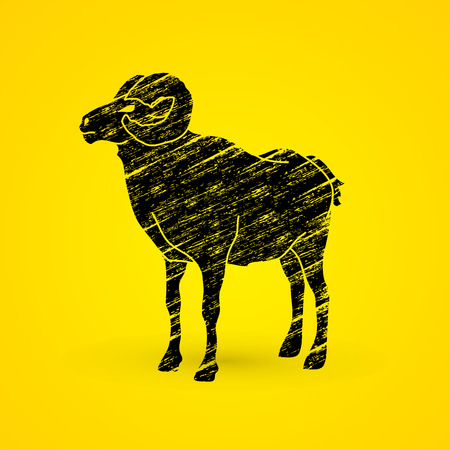 Sheep with big horn standing designed using grunge brush graphic vector.
