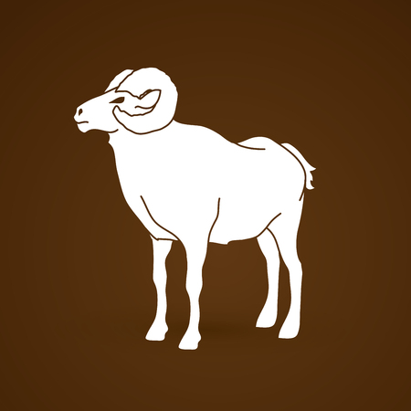 hoofs: Sheep with big horn standing graphic vector.