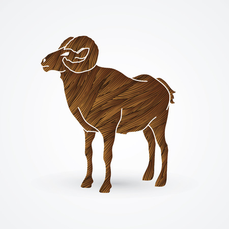 hoofs: Sheep with big horn standing designed using brown grunge brush graphic vector.