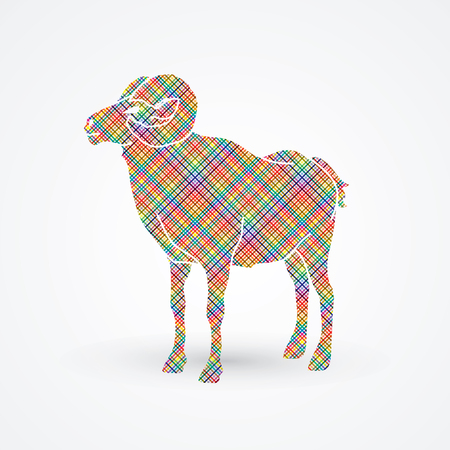 Sheep with big horn standing designed using colorful pixels graphic vector.