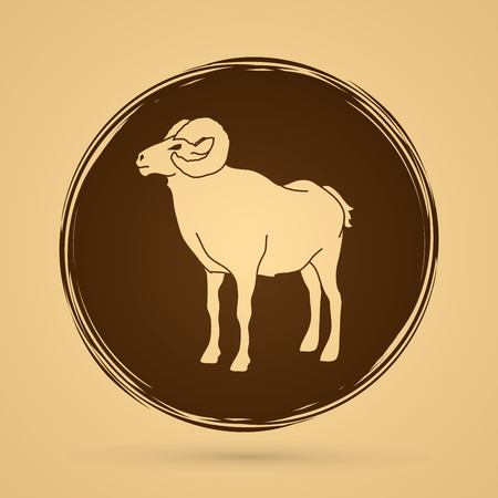 hoofs: Sheep with big horn standing designed on grunge circle background graphic vector. Illustration