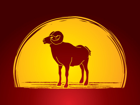 Sheep with big horn standing designed on moonlight background graphic vector.