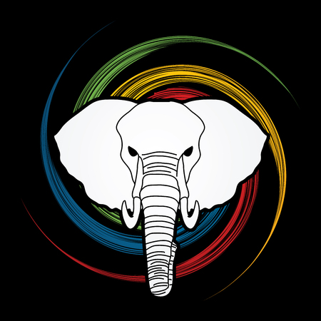 screen printing: Elephant head front view designed on spin wheel background graphic vector.