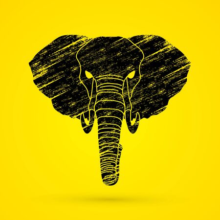 elephant angry: Elephant head front view designed using black grunge brush graphic vector.