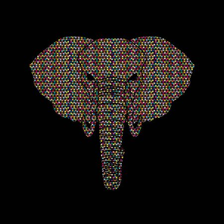 Elephant head front view designed using mosaic pattern graphic vector.