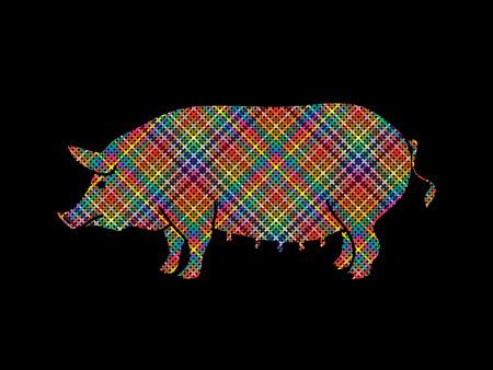 Fat pig standing designed using colorful pixels graphic vector. Illustration