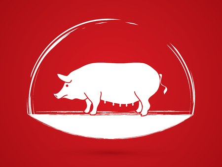 Fat pig standing graphic vector.