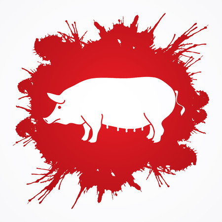 Fat pig standing designed on splash blood background graphic vector. Illustration