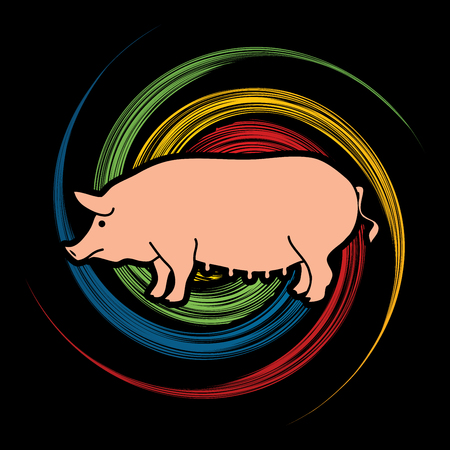 Fat pig standing designed on spin wheel background graphic vector. Illustration