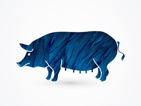 Fat pig standing designed using blue grunge brush graphic vector. Illustration