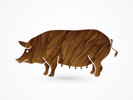 Fat pig standing designed using brown grunge brush graphic vector.