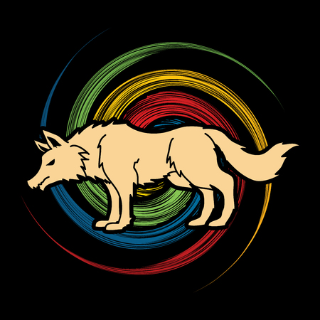 spin: Wolf standing  designed on spin wheel background graphic vector Illustration