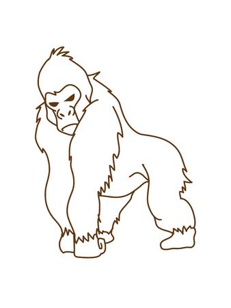 rey caricatura: Gorila que se destaca la línea del gráfico de vector.