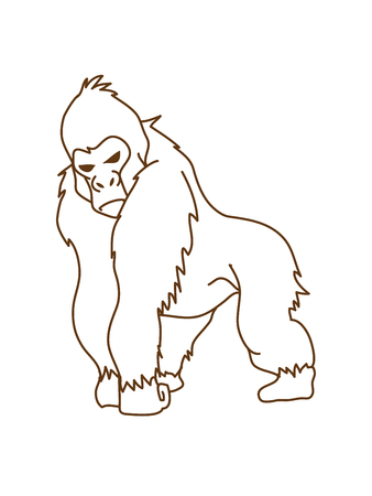 Gorilla standing out line graphic vector. Illustration