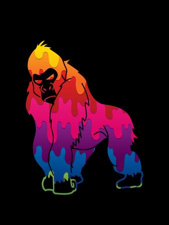 Gorilla standing designed using melt colors graphic vector. Illustration