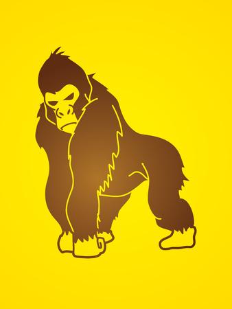 rey caricatura: Gorila de pie gráfico vectorial.