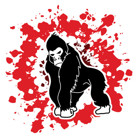 Gorilla standing designed on splatter blood background graphic vector.