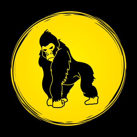 Gorilla standing designed on grunge circle background graphic vector. Illustration