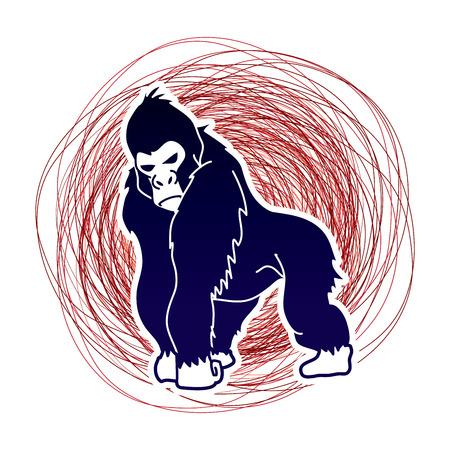 rey caricatura: Gorila de pie diseñada en el fondo línea de confundir gráfico vectorial.