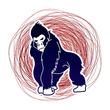 Gorilla standing designed on confuse line background graphic vector. Illustration