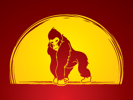 king kong: Gorilla standing designed on moonlight background graphic vector.