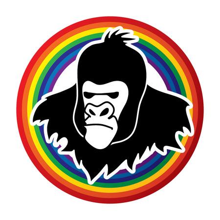 screen printing: Gorilla Head designed on rainbows background graphic vector.