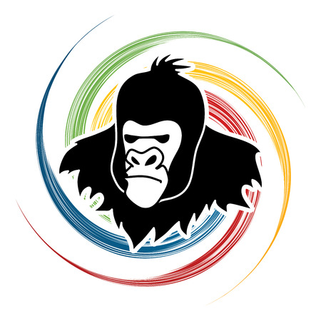 spin: Gorilla Head designed on spin wheel background graphic vector.