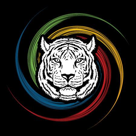 spin: Tiger head designed on spin wheel graphic vector. Illustration