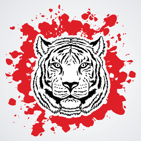 Tiger head designed on splash blood graphic vector. Illustration