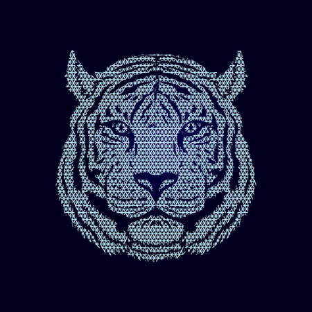 Tiger head designed using geometric pattern graphic vector.