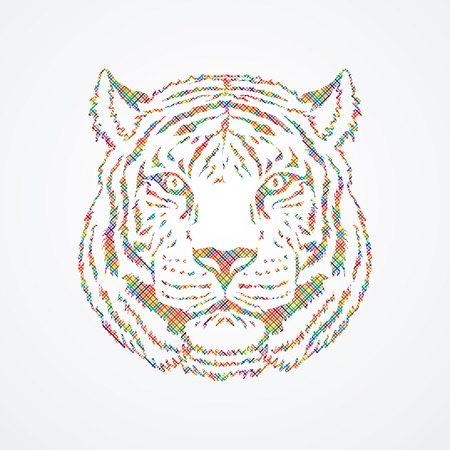 Tiger head designed using colorful pixels brush graphic vector. Illustration