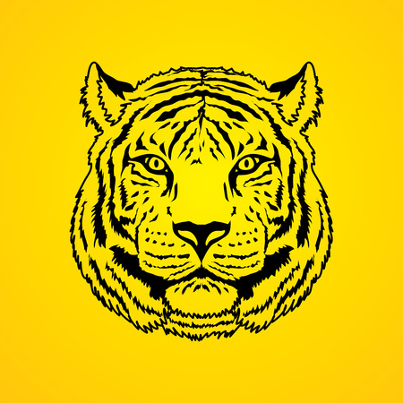 screen printing: Tiger head outline graphic vector.