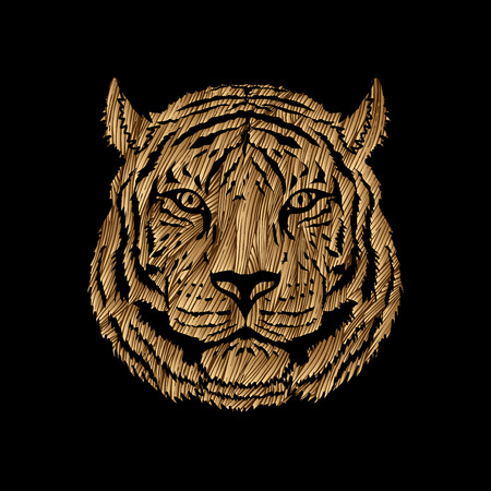 Tiger head designed using golden grunge brush graphic vector.