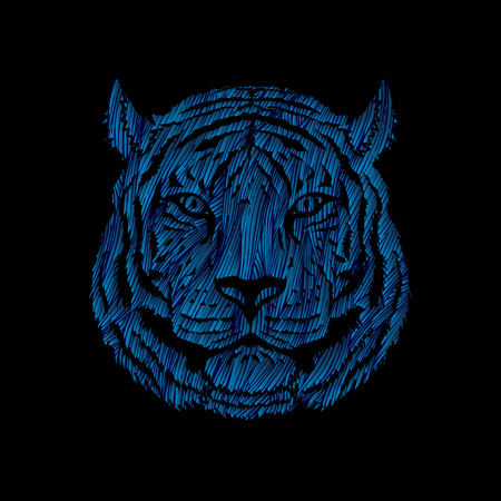 Tiger head designed using blue grunge brush graphic vector.