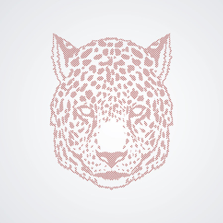 Cheetah head designed using pixels graphic vector. Illustration