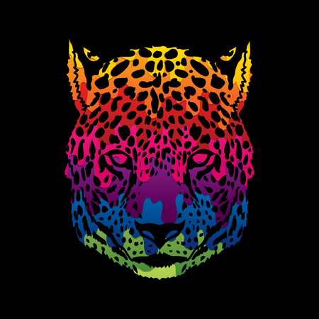 Cheetah head designed using melting colors graphic vector.
