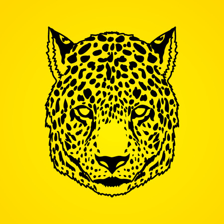 Cheetah head outline stroke graphic vector. Illustration