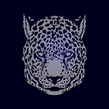 Cheetah head designed using geometric pattern graphic vector.