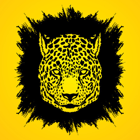 Cheetah head designed on grunge frame background graphic vector.