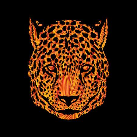 Cheetah head designed using yellow grunge brush graphic vector. Illustration