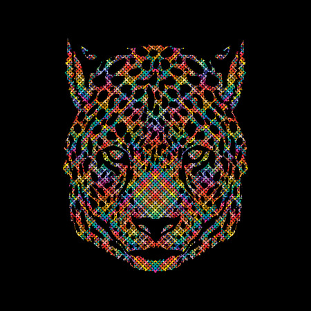 Cheetah head designed using colorful pixels graphic vector.