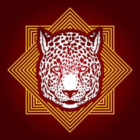 Cheetah head designed on line square background graphic vector. Illustration