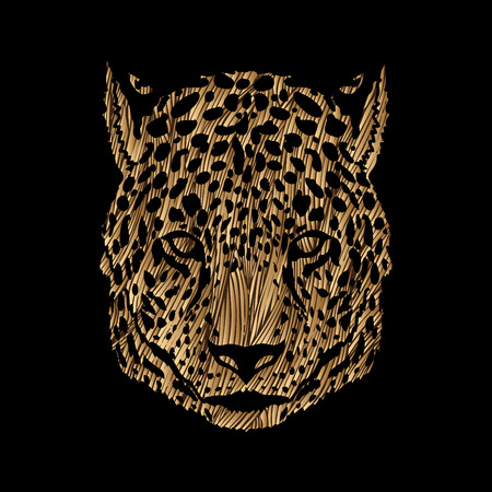 Cheetah head designed using golden blue grunge brush graphic vector.