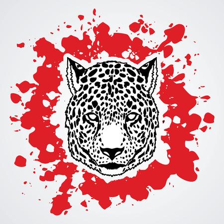 Cheetah head designed on splash blood background graphic vector.